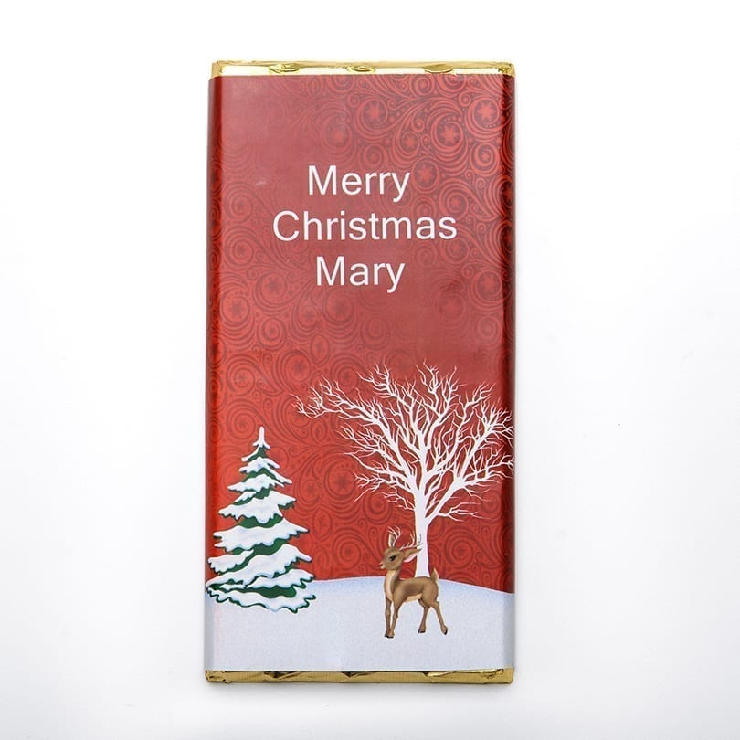 Red Rudolph Design Christmas Bar - Personalised Chocolates