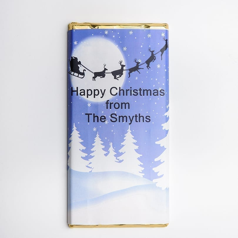 Santa Silhouette Design Chocolate Bar - Personalised Chocolates