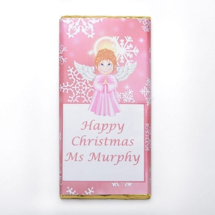 Pink Snowflake Angel Design 100g Chocolate Bar - Personalised Chocolates