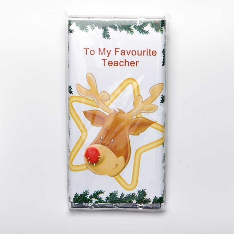 Rudolph With Pom Pom Design Chocolate Bar - Personalised Chocolates