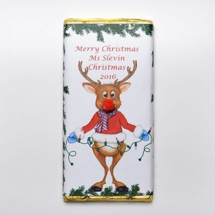Rudolph With Lights Design Chocolate Bar - Personalised Chocolates