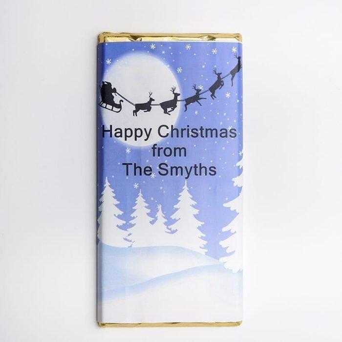 Santa Silhouette Design Chocolate Bar - Personalised Chocolates