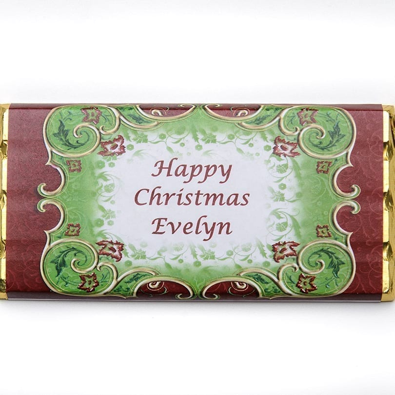 Red And Green Holly Design - Personalised Chocolates