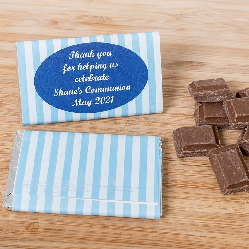 Blue Striped Personalised Communion Chocolate Bar - Personalised Chocolates