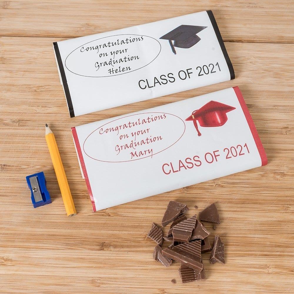 Personalised Graduation Chocolate With Caps - Personalised Chocolates